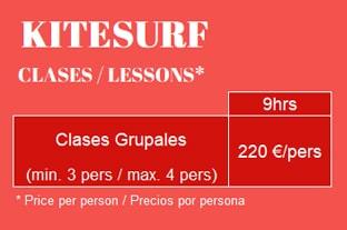 Precios Clases KiteSurf Grupales Tarifa